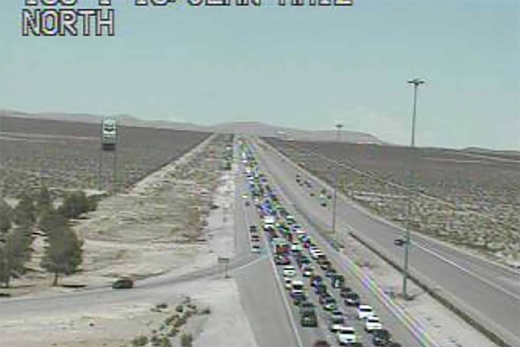 The Regional Transportation Commission of Nevada reported a 14-mile backup on southbound Interstate 15 near the Nevada-California stateline, Sunday afternoon, July 22, 2018. (RTC Fast Cameras)