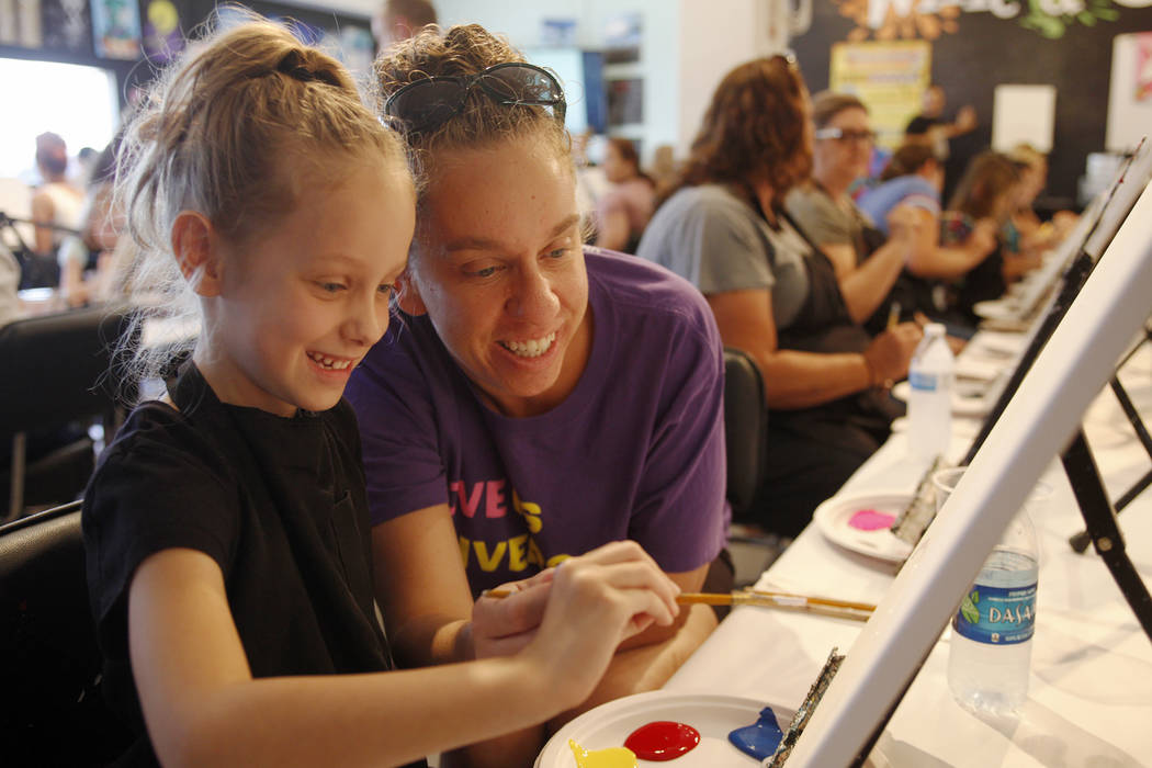 Emily Nelson, 6, gets help from her mom Candice Nelson painting a unicorn at a family friendly class at Wine and Canvas in Henderson, Sunday, July 22, 2018. Wine and Canvas holds painting classes ...