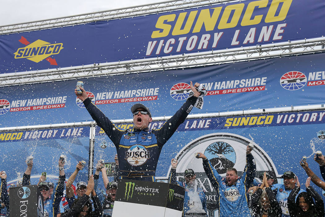 Kevin Harvick Celebrates In Victory Lane After Winning The Nascar Cup Series Auto Race Sunday
