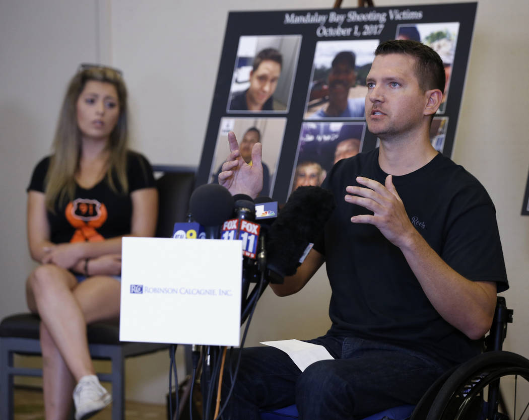 Jason McMillan, 36, of Riverside, a Riverside County Sheriff's deputy who was shot and paralyzed in the Oct, 1, 2017, Las Vegas shooting, talks about that evening and is upset MGM's decision, duri ...