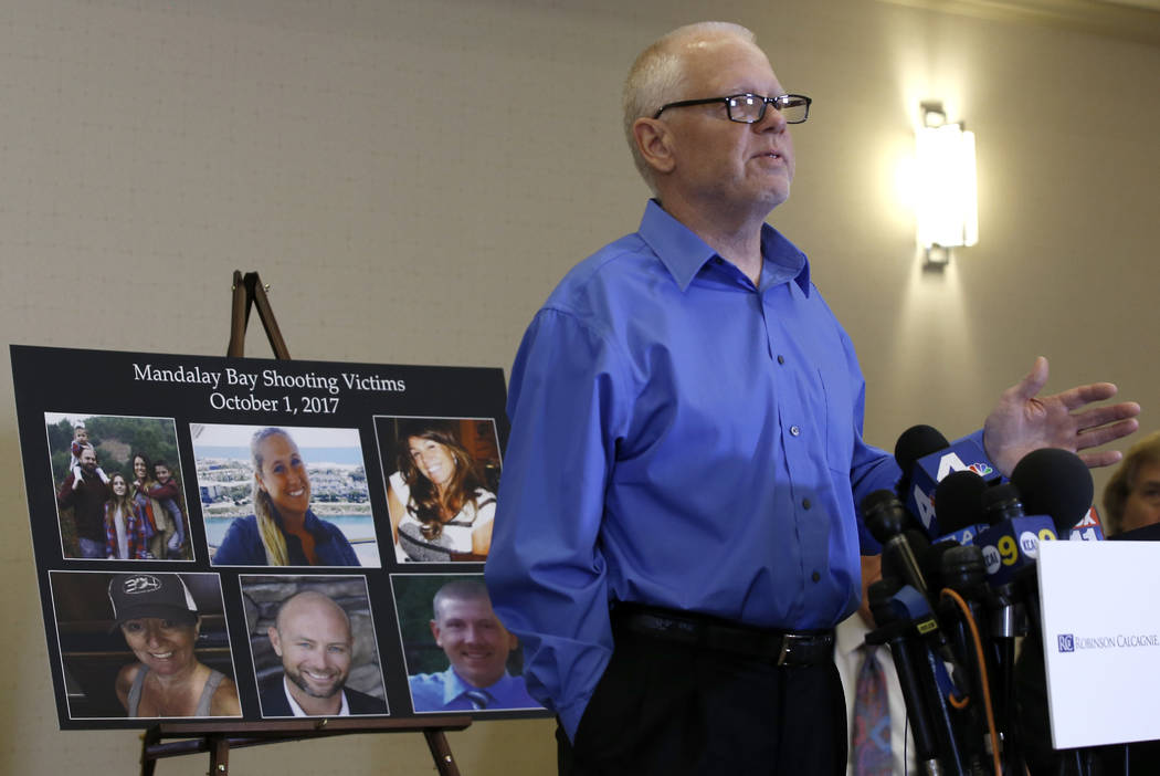 Wayne Meyer, 62, of Monterey, Calif., who lost his son, Austin Meyer, from gunfire in the Oct. 1, 2017, Las Vegas shooting, talks about the evening and MGM's decision, during a personal account br ...