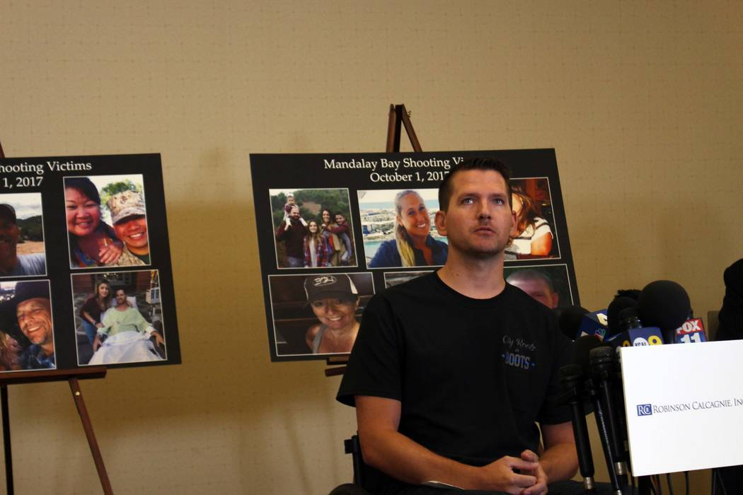 Riverside County Sheriff's Deputy Jason McMillan, 36, talks about the mass shooting on the Las Vegas Strip that left him paralyzed. He spoke at a press conference in Newport Beach, California, on ...