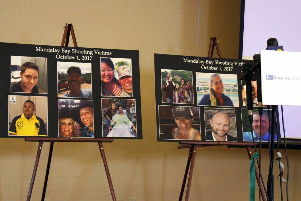 Posters depicting victims from the Oct. 1 mass shooting on the Las Vegas Strip were displayed at a press conference for victims on Monday, July 23, 2018 at Newport Beach Marriott Bayview. The vict ...