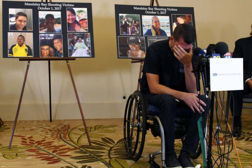 Riverside County Sheriff's Deputy Jason McMillan, 36, gets emotional as he recounts his experience at a press conference in Newport Beach on Monday, July 23, 2018. The press conference was held in ...