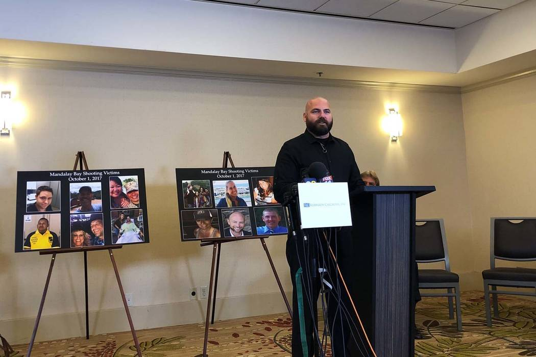 Brian Ahlers speaks during a press conference in Newport Beach, California, related to the Oct. 1 shooting in Las Vegas and the MGM Resorts lawsuit, Monday, July 23, 2018. Ahlers and his wife, Han ...
