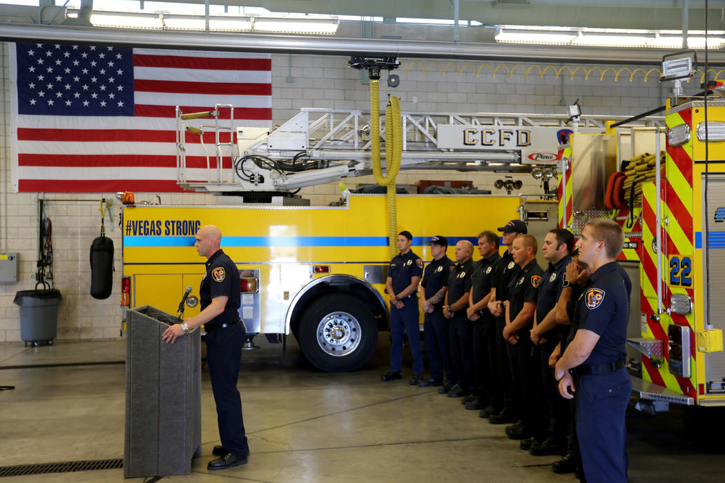 Clark County Fire Department Deputy Chief Jeff Buchanan talks drowning preventing during a news conference at Station 22 in Las Vegas Monday, July 23, 2018. K.M. Cannon Las Vegas Review-Journal @K ...