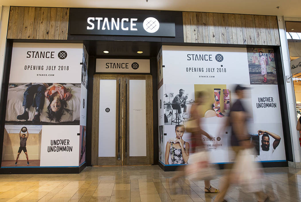 People walk past Stance at the Fashion Show mall in Las Vegas on Monday, July 23, 2018. Richard Brian Las Vegas Review-Journal @vegasphotograph