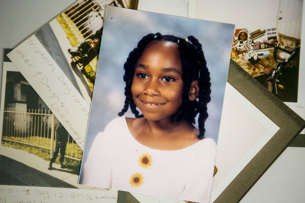 Images of young Sherrice Iverson are seen in the evidence vault at the Regional Justice Center on Wednesday, May 17, 2017, in Las Vegas. On May 25, 1997, Jeremy Strohmeyer killed and sexually assa ...