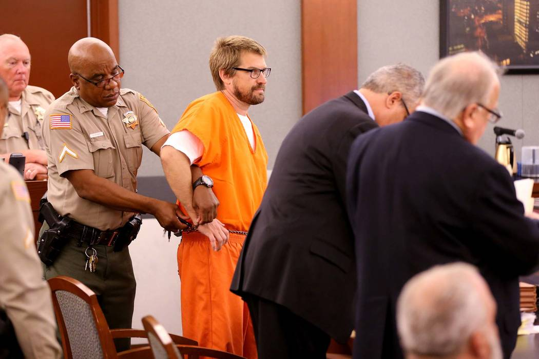 Jeremy Strohmeyer, convicted of sexually assaulting and killing 7-year-old Sherrice Iverson in a Primm casino restroom 20 years ago, has his right hand freed to take notes during a hearing at the ...