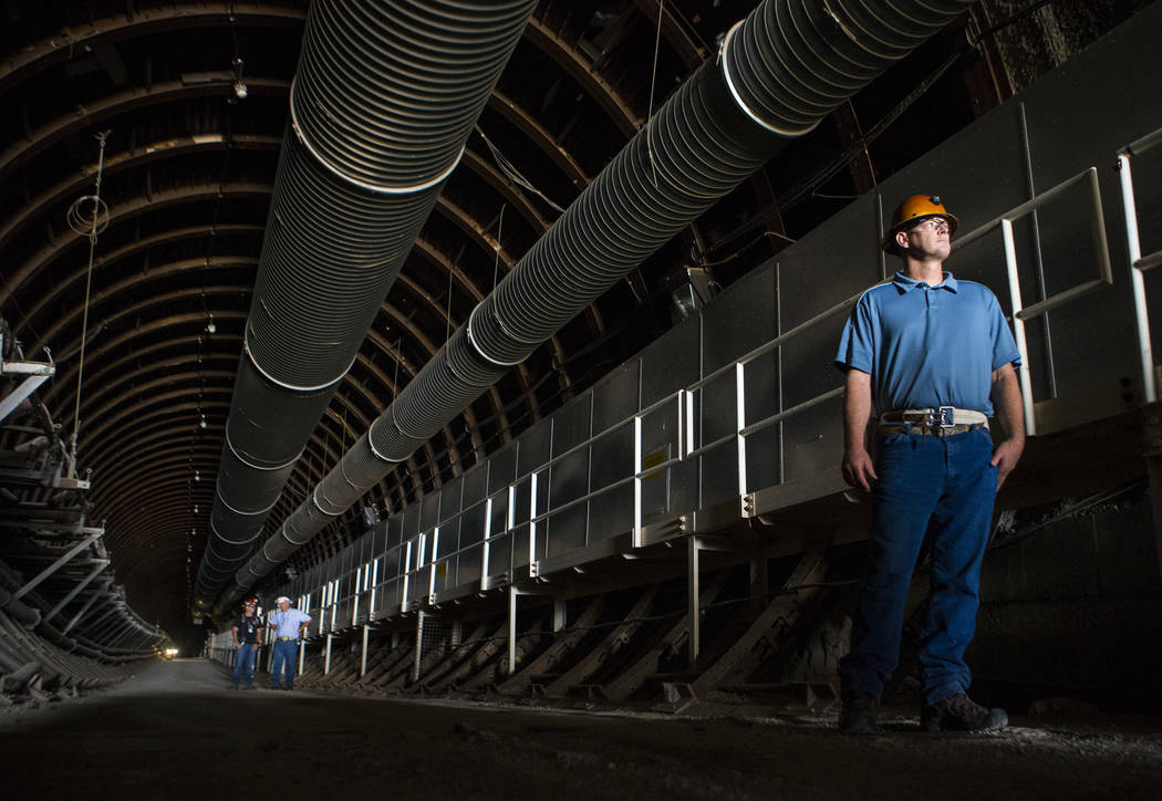 Ted Sargent looks out at the north portal of Yucca Mountain during a congressional tour near Mercury on Saturday, July 14, 2018. Chase Stevens Las Vegas Review-Journal @csstevensphoto