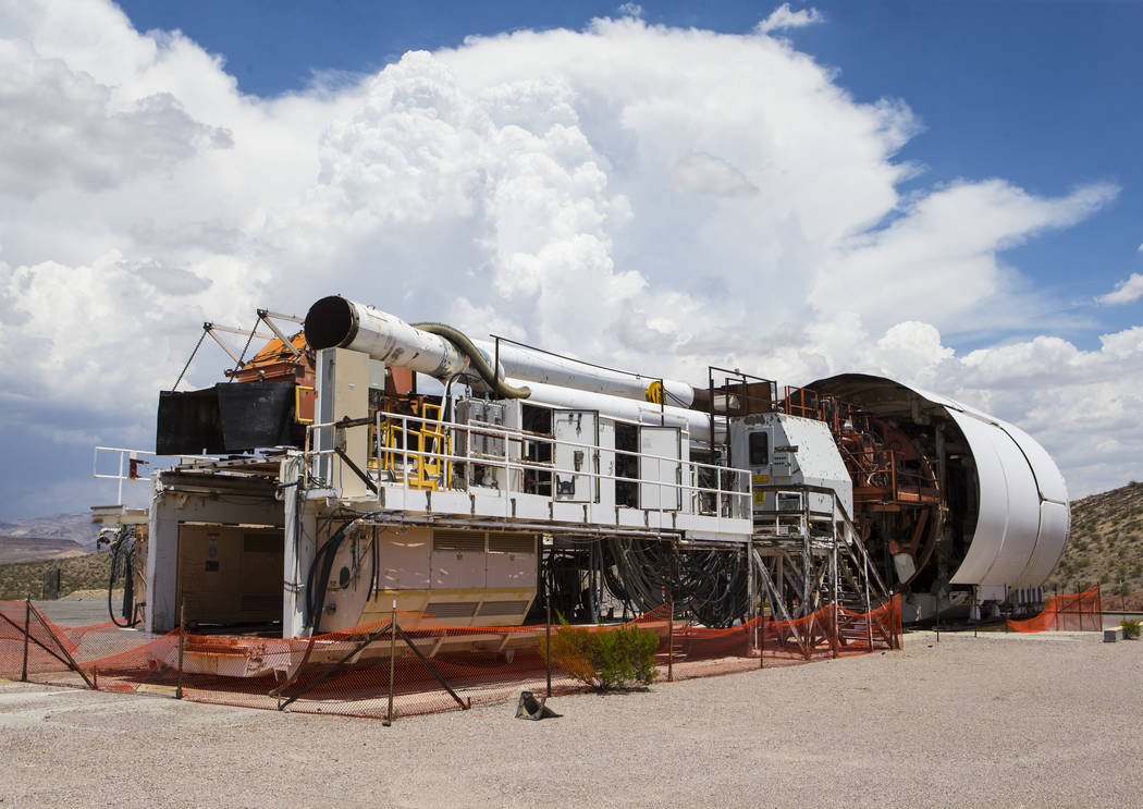 The Yucca Mucker, which bore the tunnel through Yucca Mountain, during a congressional tour of the area near Mercury on Saturday, July 14, 2018. Chase Stevens Las Vegas Review-Journal @csstevensphoto