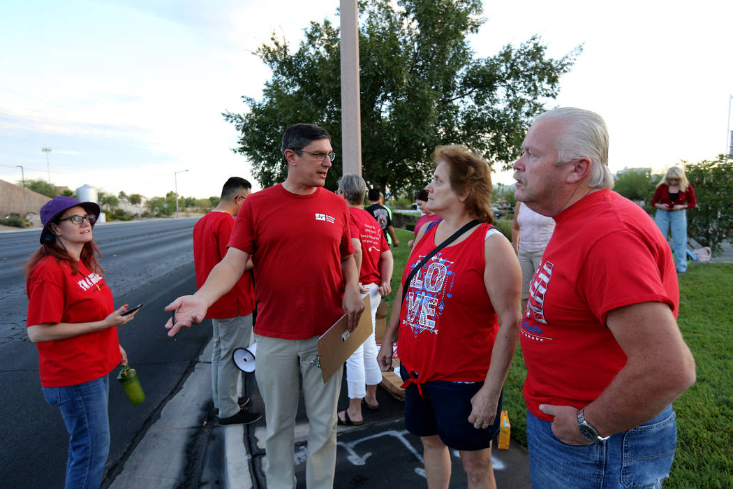Nurses and supporters affiliated with the Nevada chapter of the national Nurses Organizing Committee prepare to protest outside MountainView Hospital in Las Vegas Tuesday, July 24, 2018, to addres ...