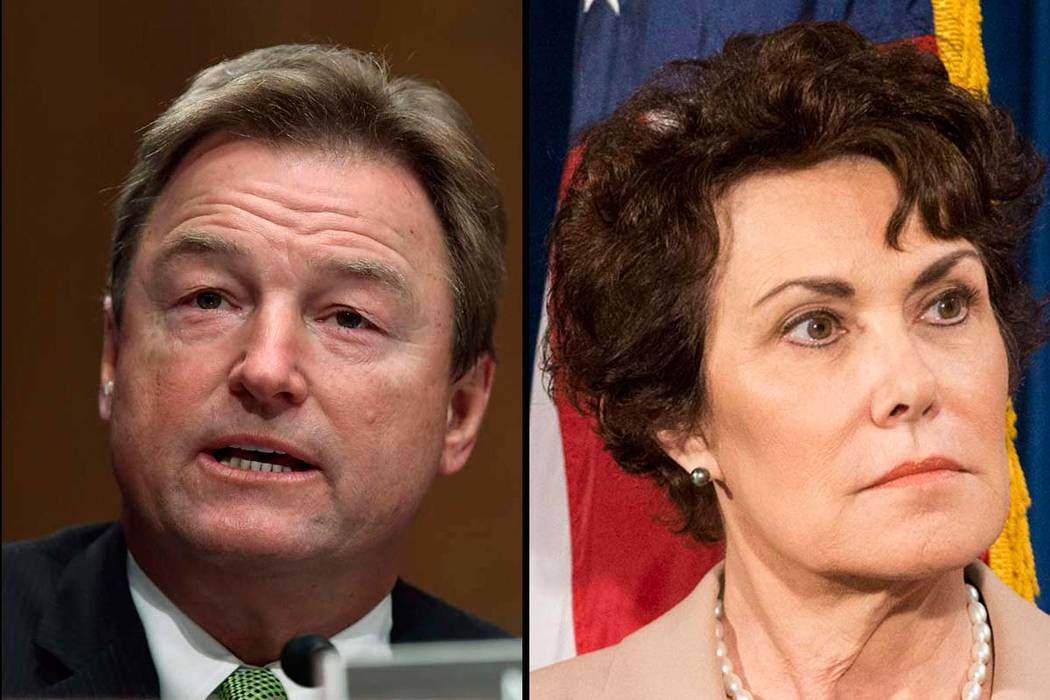 Sen. Dean Heller, R-Nev., and Rep. Jacky Rosen, D-Nev. (AP, left, and Las Vegas Review-journal)