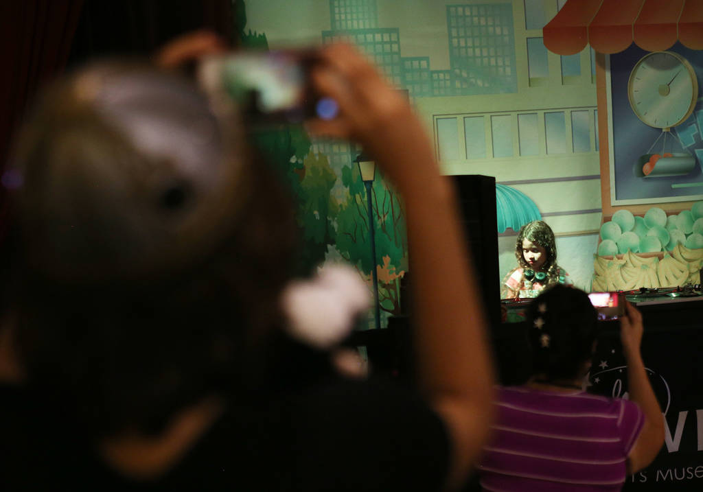 Sara Camacho, 6, aka DJ Sadako, performs at the Discovery Children's Museum in Las Vegas, Tuesday, July 24, 2018. From July 21 to 28 the museum is hosting Totally 80's Week and DJ Sadako is perfor ...