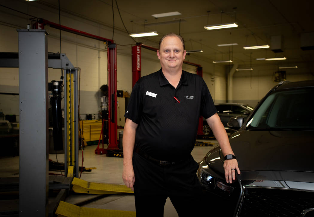 Eugen Petculescu is the collision manager at Infiniti of Las Vegas' auto body shop. (Tonya Harvey)