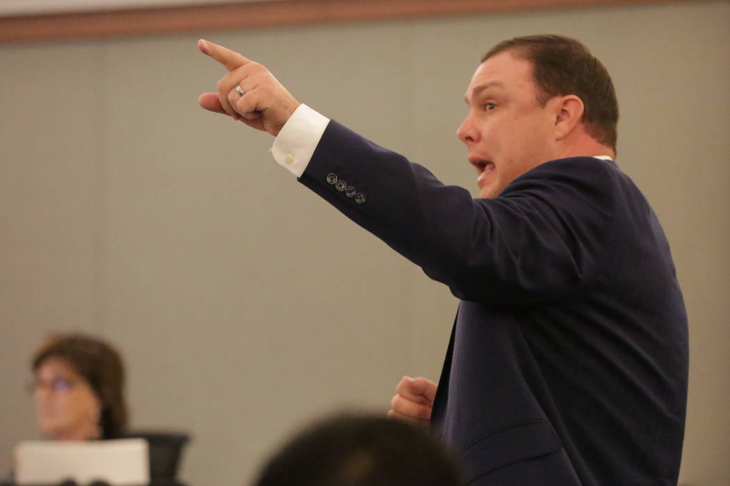 Special prosecutor Adam Gill points to Ocean Fleming, a convicted pimp serving life in prison, during a new sentencing hearing on Tuesday, July 24, 2018 at the Regional Justice Center. Michael Qui ...