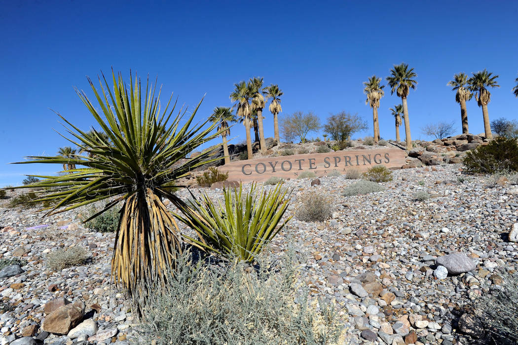 The Coyote Springs development entrance is seen near the intersection of U.S. 93 and State Route 168 on Thursday, Feb. 7, 2013. (David Becker/Las Vegas Review-Journal)