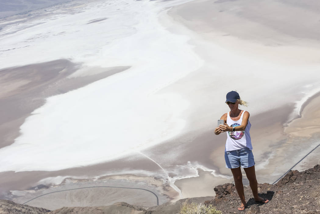 Stephanie Zampin of the French Alps takes a selfie at Dante's View, a popular lookout point in Death Valley National Park, Calif., Thursday, July 26, 2018. Richard Brian Las Vegas Review-Journal @ ...