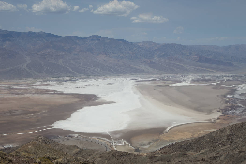 Badwater Basin, 282 feet below sea level, is seen from Dante's View lookout in Death Valley National Park, Calif., on Thursday, July 26, 2018. Richard Brian Las Vegas Review-Journal @vegasphotograph