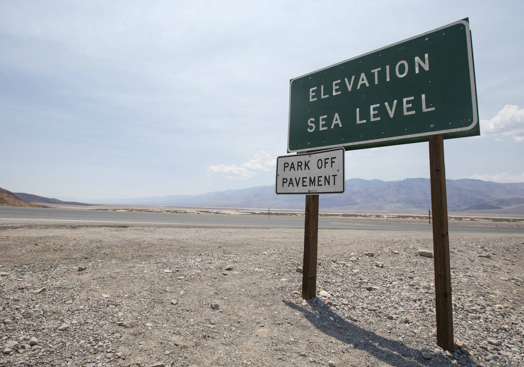 A sign marking sea level is seen on the side near the Inn at Furnace Creek in Death Valley National Park, Calif., on Thursday, July 26, 2018. Richard Brian Las Vegas Review-Journal @vegasphotograph