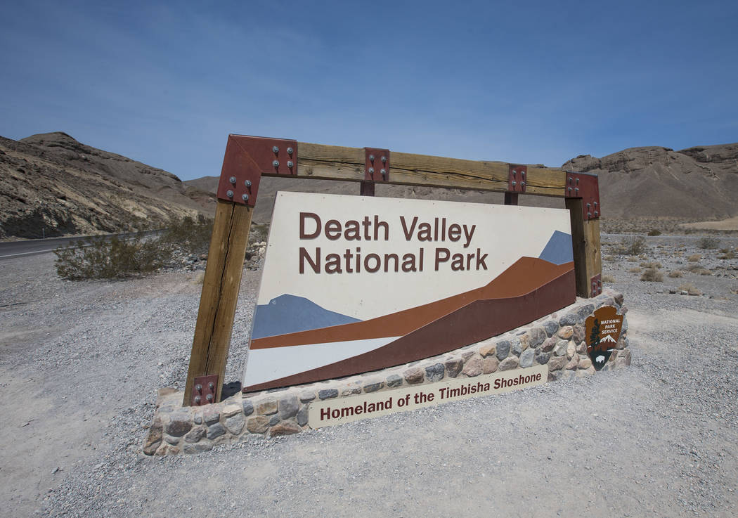 A sign marks the entrance to Death Valley National Park, Calif., on Thursday, July 26, 2018. Richard Brian Las Vegas Review-Journal @vegasphotograph