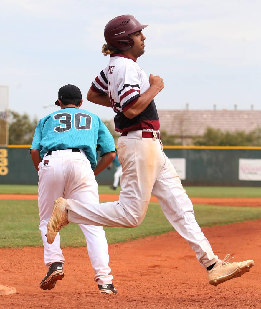 Desert Oasis' third baseman Israel Gutierrez is out at second during a game against Silverado High at Desert Oasis High School on Friday, July 13, 2018, in Las Vegas. Bizuayehu Tesfaye/Las Vegas R ...