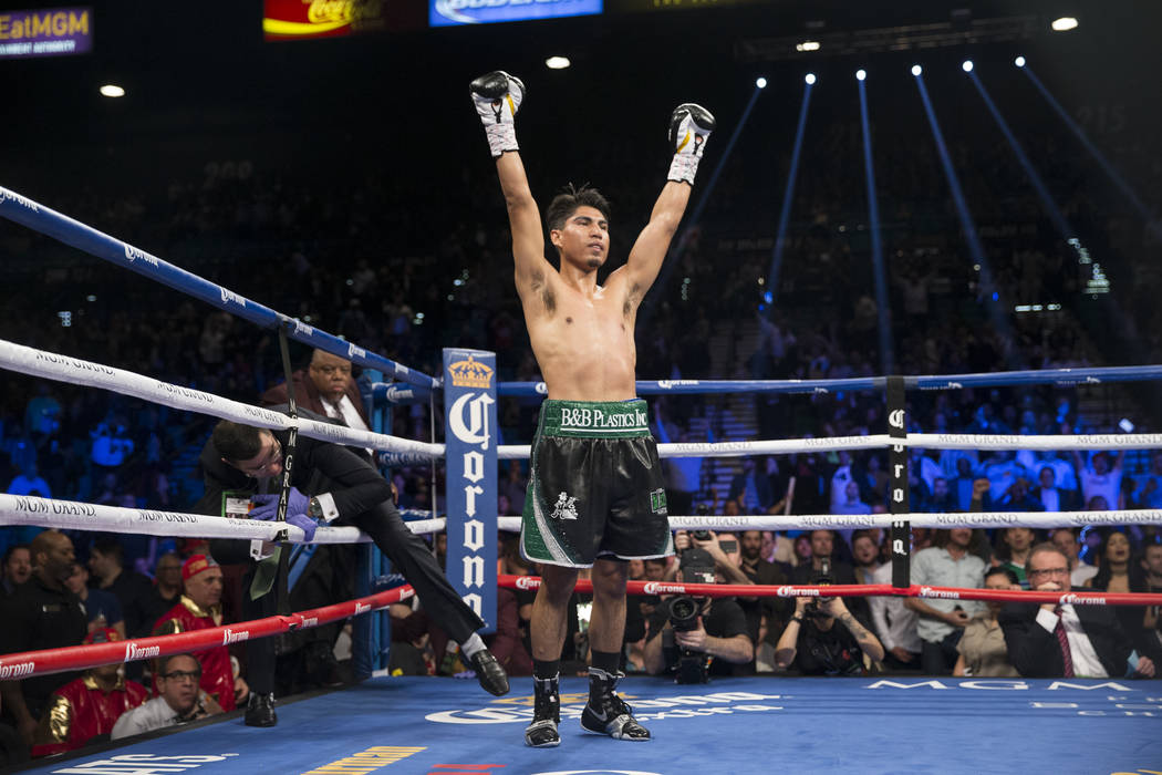 Mikey Garcia celebrates his win against Dejan Zlaticanin by way of knockout in the third round of the WBC Lightweight World Championship bout at MGM Grand Garden Arena on Saturday, Jan. 28, 2017, ...