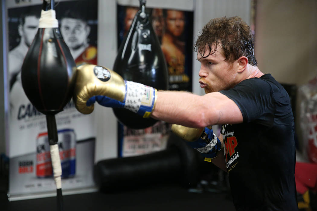 "Saul ""Canelo"" Alvarez trains at his gym in San Diego, Calif., Friday, July 27, 2018. Erik Verduzco Las Vegas Review-Journal @Erik_Verduzco"