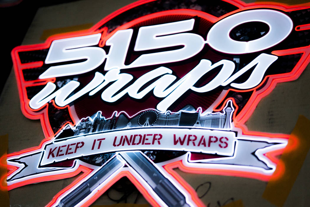 Neon 5150 Wraps logo photographed in Henderson, Monday, July 9, 2018. (Marcus Villagran/Las Vegas Review-Journal) @brokejournalist