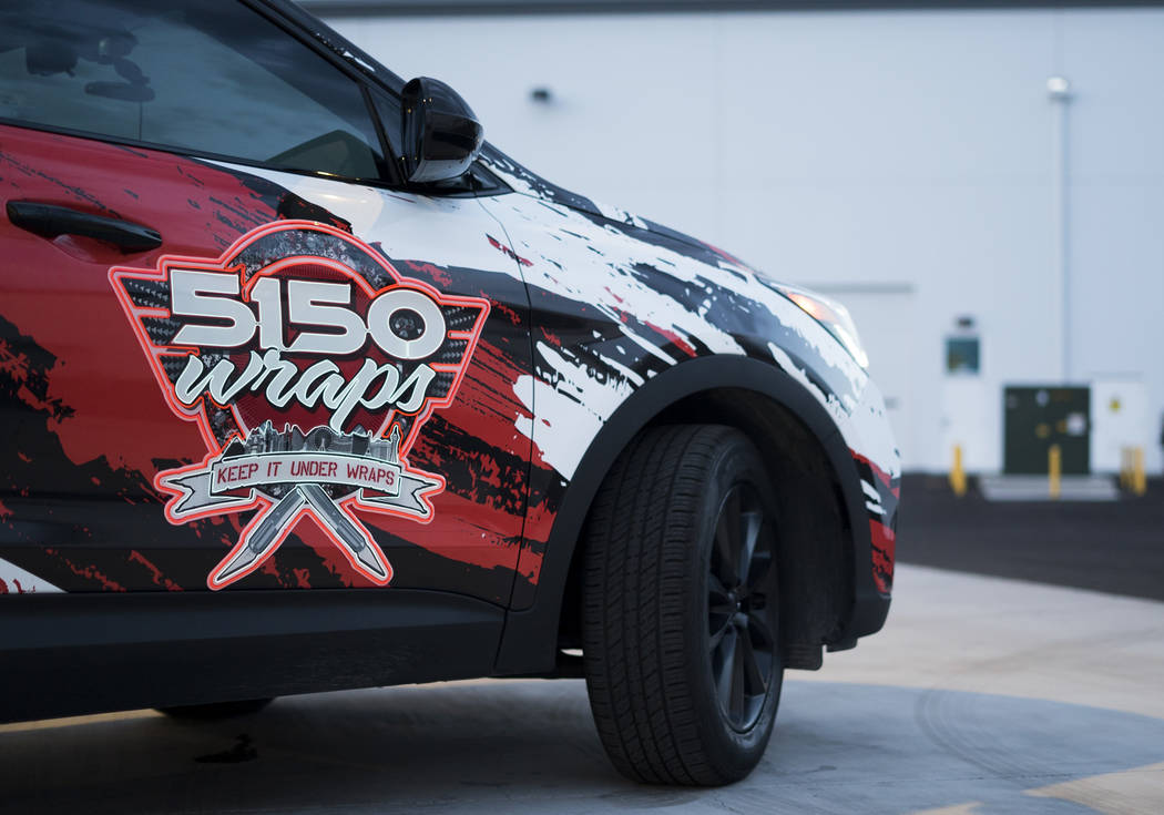 5150 Wraps company car with neon wrap photographed in Henderson, Wednesday, July 25, 2018. (Marcus Villagran/Las VegasReview-Journal) @brokejournalist