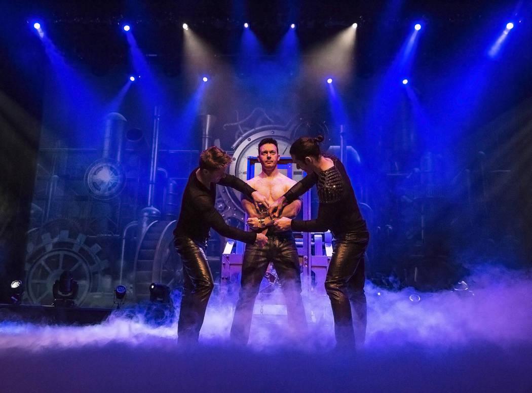 Illusionist David Goldrake, middle, rehearses for his new show Imaginarium on Thursday, June 22, 2017, at the Tropicana Theater, in Las Vegas. Benjamin Hager Las Vegas Review-Journal @benjaminhphoto