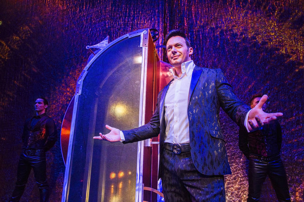 Illusionist David Goldrake, right, rehearses for his new show Imaginarium on Thursday, June 22, 2017, at the Tropicana Theater, in Las Vegas. Benjamin Hager Las Vegas Review-Journal @benjaminhphoto