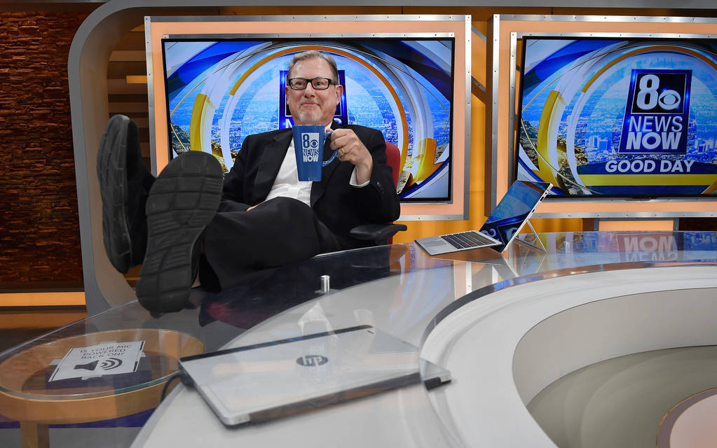 Channel 8 weather and traffic broadcaster Nate Tannenbaum relaxes between broadcasts at the KLAS studio Thursday, July 26, 2018, in Las Vegas. David Becker/Las Vegas Review-Journal Follow @davidja ...
