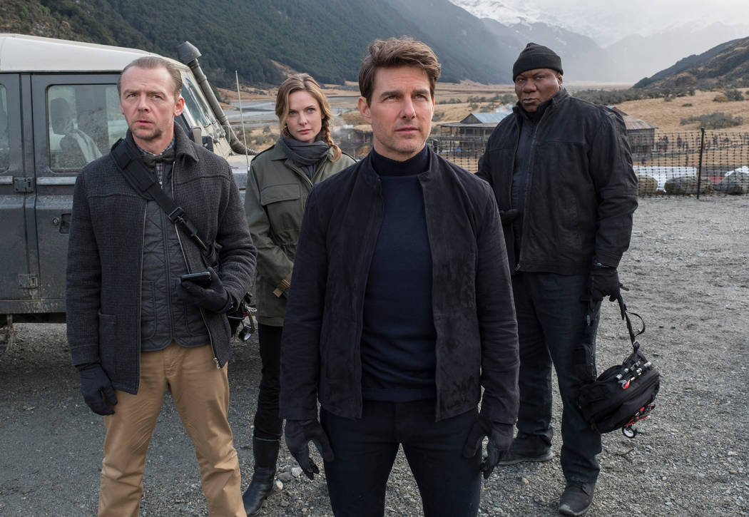 """Left to right: Simon Pegg as Benji Dunn, Rebecca Ferguson as Ilsa Faust, Tom Cruise as Ethan Hunt and Ving Rhames as Luther Stickell in """"Mission:Impossible-Fallout"""", from Paramount Pictures and Sk ..."""