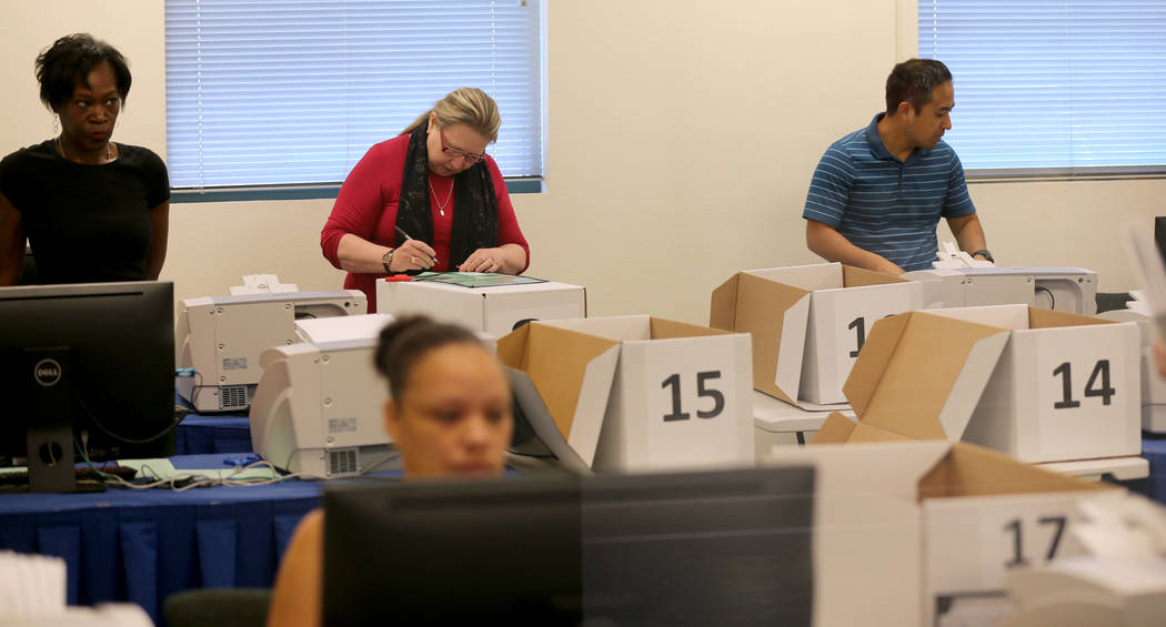 Clark County election workers count mail-in ballots at election headquarters in Las Vegas Tuesday, June 26, 2018. K.M. Cannon Las Vegas Review-Journal @KMCannonPhoto