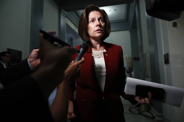 Sen. Catherine Cortez Masto, D-Nev., speaks to the media after attending a closed doors meeting of the Congressional Hispanic Caucus and Homeland Security Secretary Kirstjen Nielsen, Wednesday, Ju ...