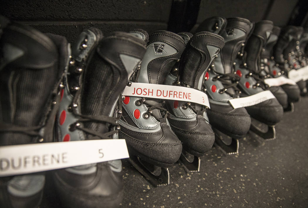 Hockey skates line the locker room during UMC's Player for a Day event where pediatric patients get to experience a day in the life of a Vegas Golden Knight. Photo taken on Wednesday, July 25, 201 ...