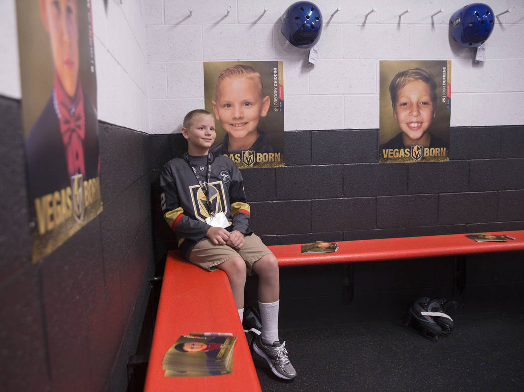 Gregory Chiodini sits at his locker during UMC's Player for a Day event where pediatric patients get to experience a day in the life of a Vegas Golden Knight. Photo taken on Wednesday, July 25, 20 ...