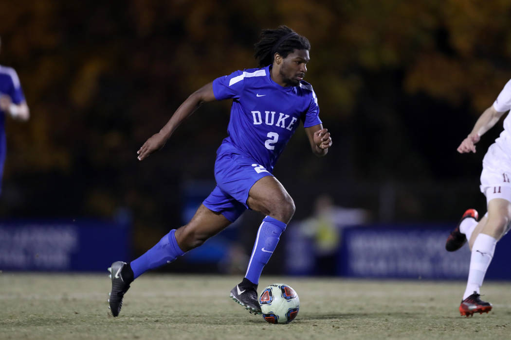 DURHAM, NC - NOVEMBER 25: Duke's Carter Manley during the Duke Blue Devils game versus the Fordham Rams on November 25, 2017 at Koskinen Stadium in Durham, NC in an NCAA Division I Men's Soccer To ...