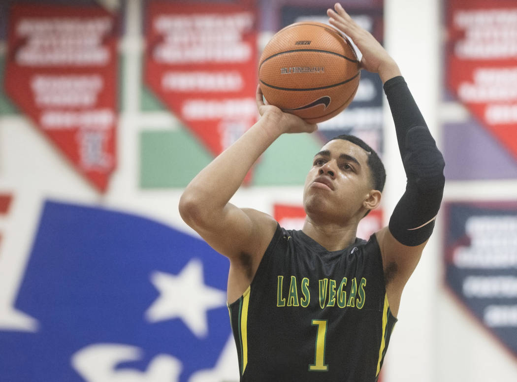 Las Vegas Prospects guard Julian Strawther (1) shoots a free throw in the first half during his game against the Seattle Rotary at the Made Hoops Summer Showcase on Wednesday, July 25, 2018, at Li ...