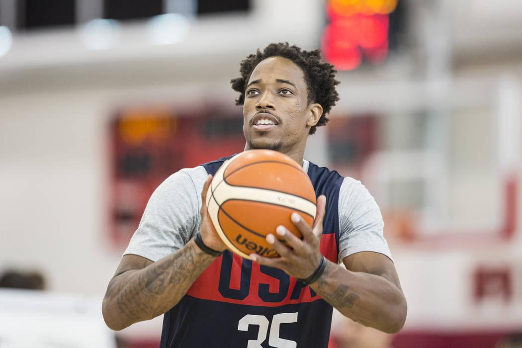 San Antonio Spurs guard DeMar DeRozan (35) shoots free throws during Team USA basketball's minicamp on Thursday, July 26, 2018, at the Mendenhall Center, in Las Vegas. Benjamin Hager Las Vegas Rev ...