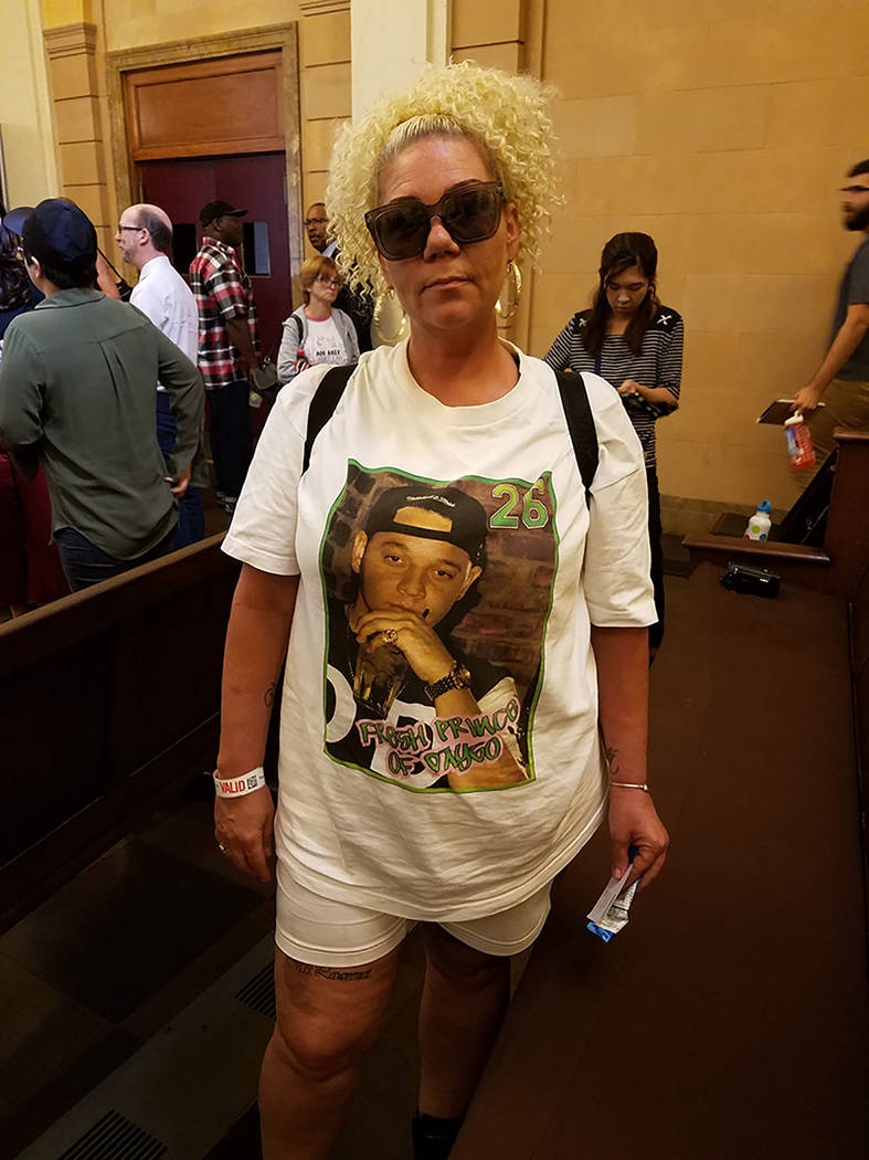 Jackie Lawrence, 48, wears a shirt with the face of her son, Keith Childress, who was killed by police Dec. 31, 2015. She attended a use of force forum held Wednesday, July 25, 2018 at the Mob Mus ...