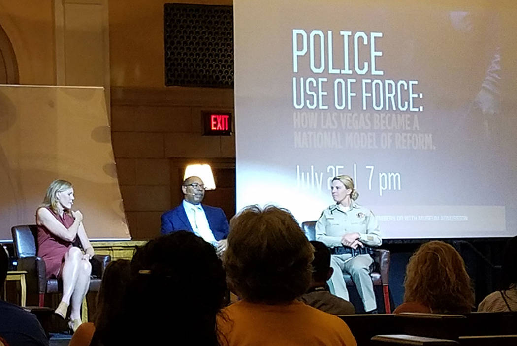 From left, Crime and Justice Institute Executive Director Christine Cole; former Clark County Asst. Sheriff Greg McCurdy and Metropolitan Police Department Capt. Kelly McMahill talk about changes ...