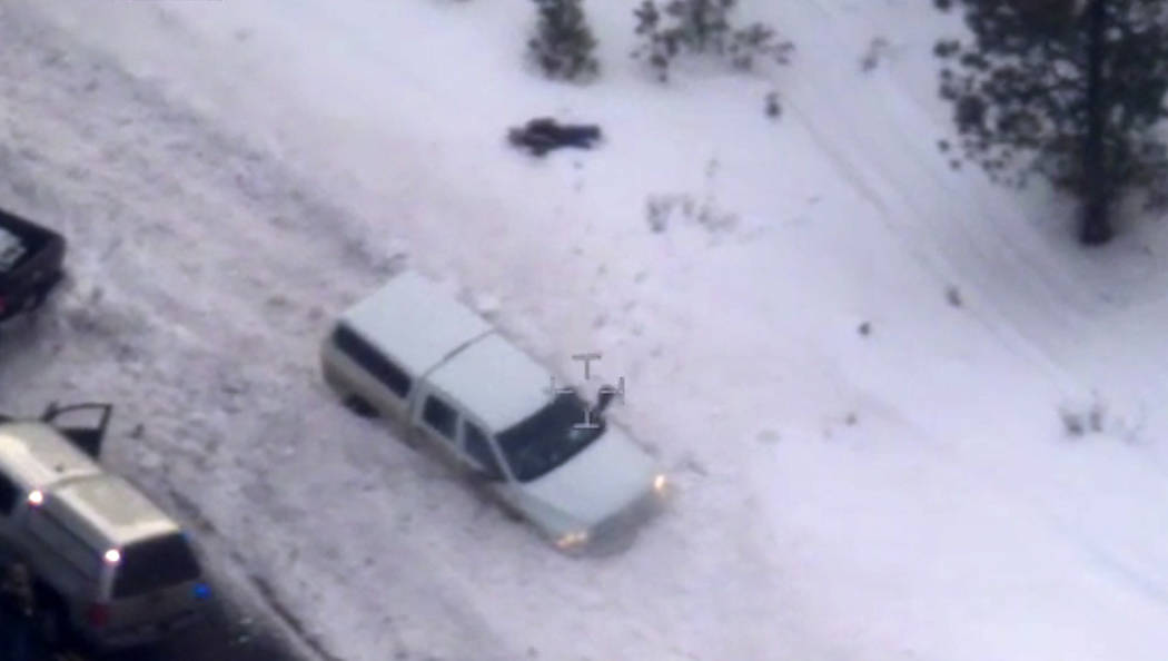 "This Jan. 26, 2016, file photo taken from an FBI video shows Robert ""LaVoy"" Finicum after he was fatally shot by police near Burns, Ore. (FBI via AP, File)"