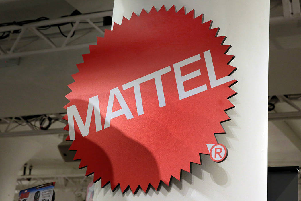 This April 26, 2018, file photo shows the Mattel logo at the TTPM 2018 Spring Showcase in New York. (AP Photo/Richard Drew, File)