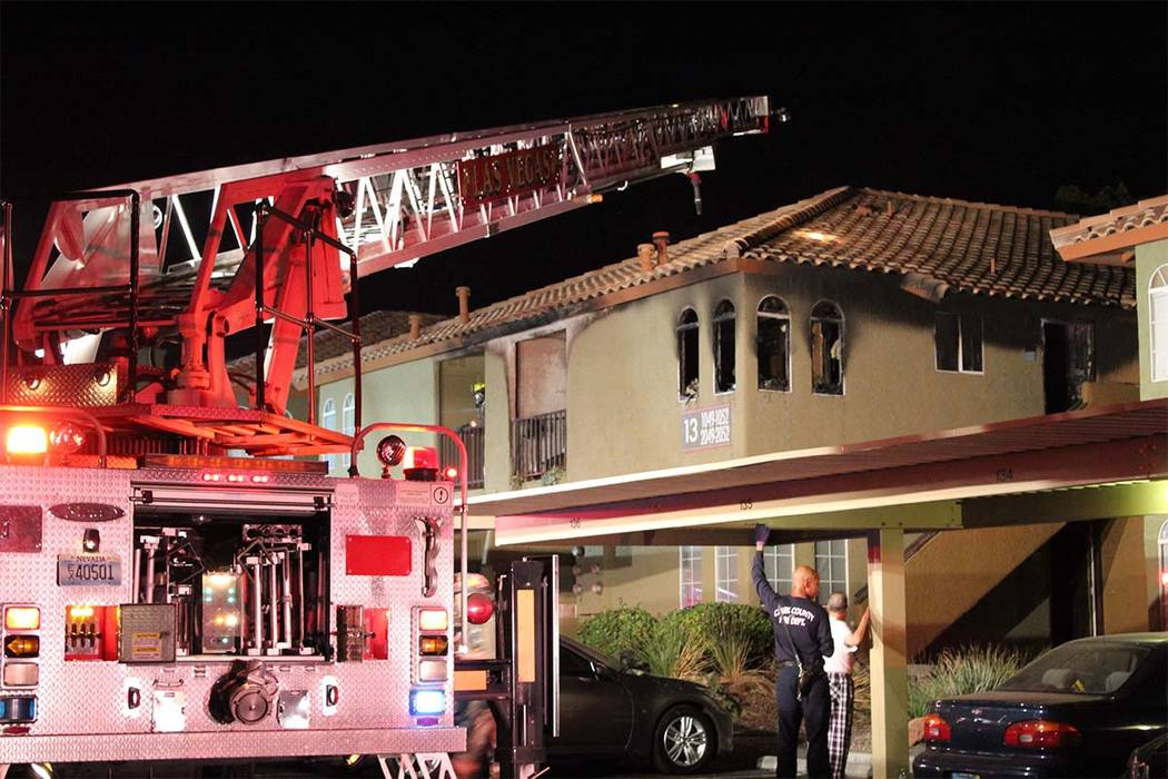 No one was injured after an early Thursday July 26, 2018, fire at the Breakers Apartments on West Sahara. (Max MIchor/Las Vegas Review-Journal)