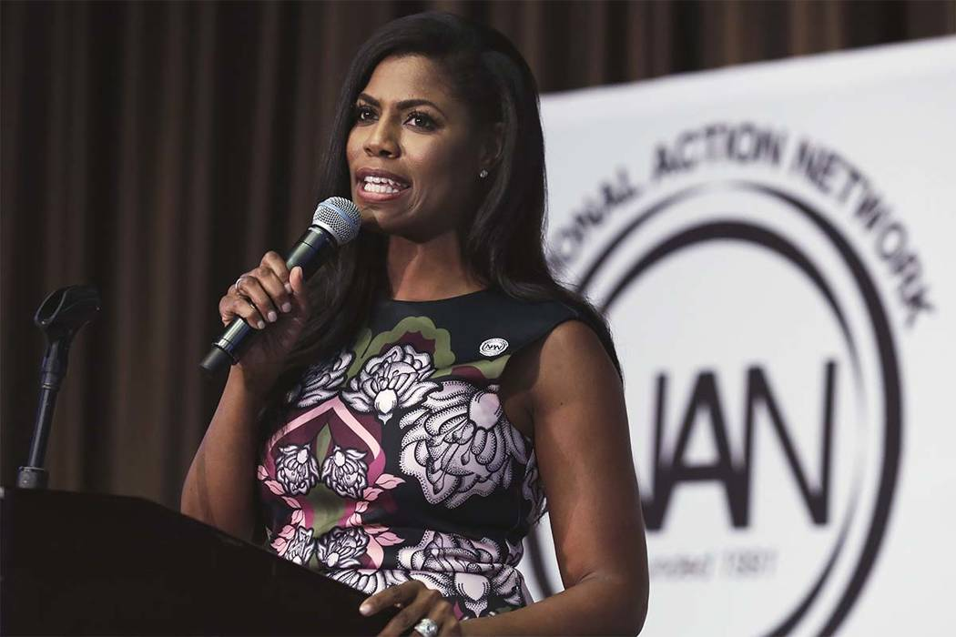 In this April 27, 2017 file photo, Omarosa Manigault, political aide and communications director for the Office of Public Liaison at the White House for President Donald Trump, speaks at the Women ...