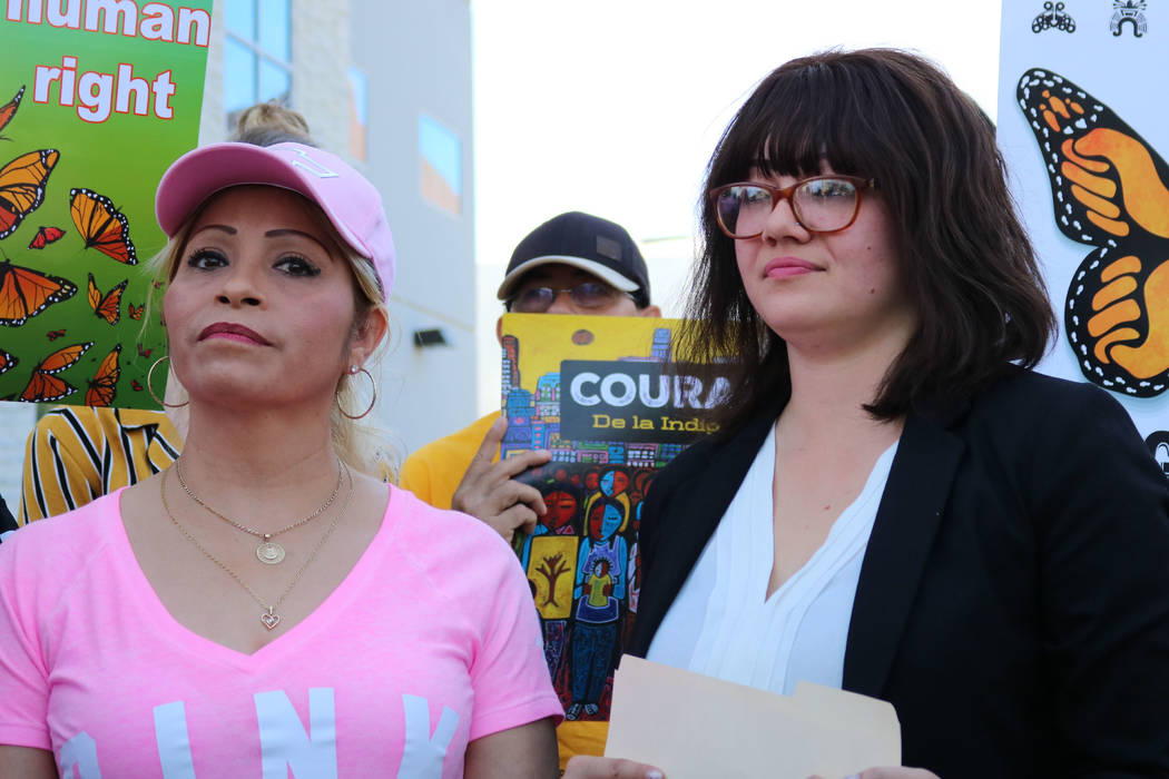 Laura Barrera, right, of the UNLV Immigration Clinic appeared at press conference in Las Vegas on Thursday, April 26, 2018, with recently detained undocumented immigrant Cecilia Gomez. Madelyn Ree ...