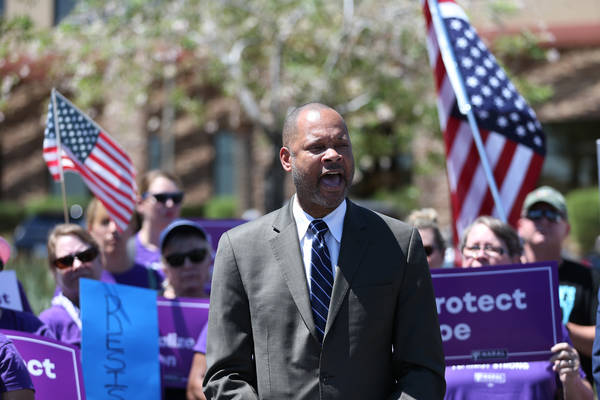 Senate Majority Leader Aaron Ford speaks during a rally hosted by the The Nevada Democrats and NARAL to protest the Supreme Court pick outside of the office building of U.S. Sen. Dean Heller, R-Ne ...