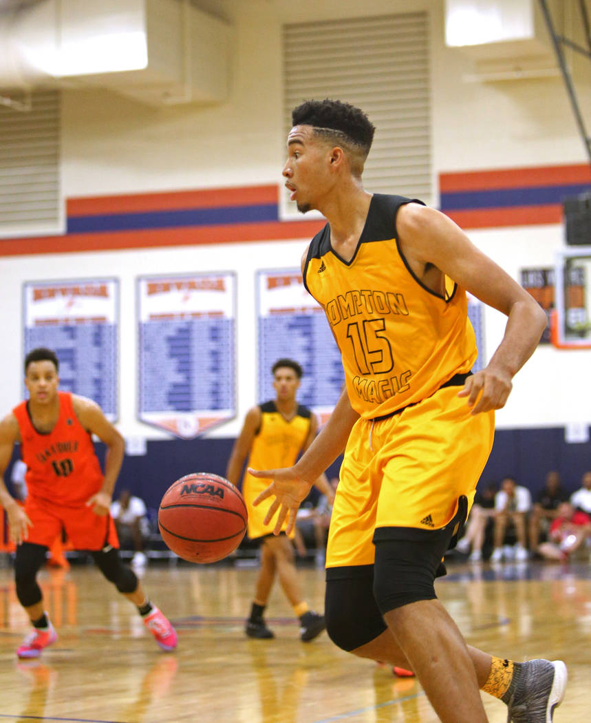 Compton Magic's Isaiah Mobley (15) plays against Bishpo Gorman at Bishop Gorman High School in Las Vegas, Wednesday, July 25, 2018. Rachel Aston Las Vegas Review-Journal @rookie__rae